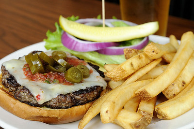 A delicious Southwest Burger from Maxwell's Tavern on Main Street in Waxhaw, NC on Saturday, June 14, 2014. Copyright 2014 Jason Barnette