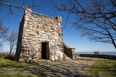 The Wayah Bald observation tower.  Note the Appalachian Trail blaze.