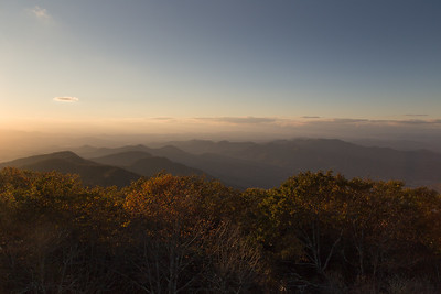 View to the northwest from the summit of Brasstown Bald.  Blairsville is in the valley to the middle-left; Young Harris is in the valley near and to the right.  The distant mountains to the left mark the entrance to the Ocoee Gorge going into Tennessee, while the Unicoi Mountains are on the farthest horizon to the right.