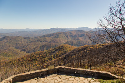 View to the southeast from the Wayah Bald observation tower. The southern group of the Nantahala Mountains, where the Appalachian Trail continues into Georgia, are on the center-right horizon.