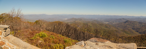View to the east from the Wayah Bald observation tower.  Franklin is in the middle distance, to the right, and the Franklin airport is the middle distance to the left.  The Cowee Mountains are the next-to-last ridge on the left horizon, with Balsam Gap behind, separating the Plott Balsams on the left from the Great Balsams on the right.