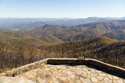 The overlook to the southeast at the Wayah Bald summit.