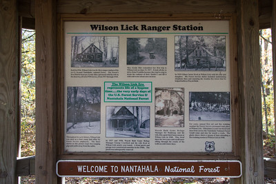 A mile or two down from the Wayah summit is the historic Wilson Lick Ranger Station, built in 1916 and described on this sign.
