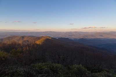 View north from the summit of Brasstown Bald, with Chatuge Lake, the Nantahala Mountains, and Clingman's Dome.
