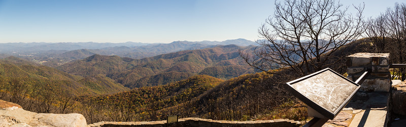 View to the east and southeast from the Wayah Bald observation tower.  Franklin is in the middle distance to the left.  The southern group of the Nantahala Mountains are to the center-right on the horizon.