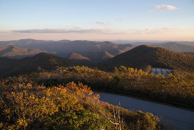 The view south from the summit of Brasstown Bald, with the parking area for the state park clearly visible in the near right.  These are the Blue Ridge Mountains, with the north Georgia piedmont seen through the gaps.