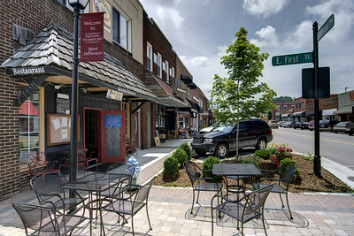 Outdoor seating at Black Jack's Pub & Grill on Jefferson Street in West Jefferson, NC on Friday, June 13, 2014. Copyright 2014 Jason Barnette