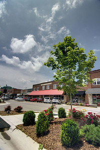 The view along Jefferson Street, the main street through downtown, in West Jefferson, NC on Friday, June 13, 2014. Copyright 2014 Jason Barnette