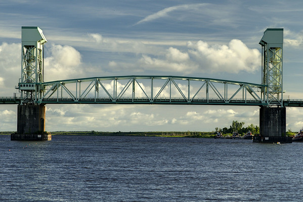 The Cape Fear Memorial Bridge, stretching across the Cape Fear River, in Wilmington, NC on Sunday, July 13, 2014. Copyright 2014 Jason Barnette