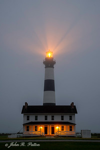 Bodie Island Lighthouse on foggy morning.
