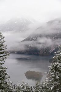 A mountain lake in winter
