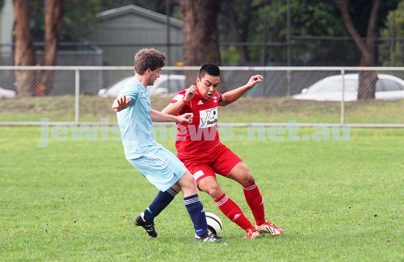 6-7-14. North Caulfield Maccabi lost to Frankston 1 - 2 at Monterey Reserve.  Photo: Peter Haskin