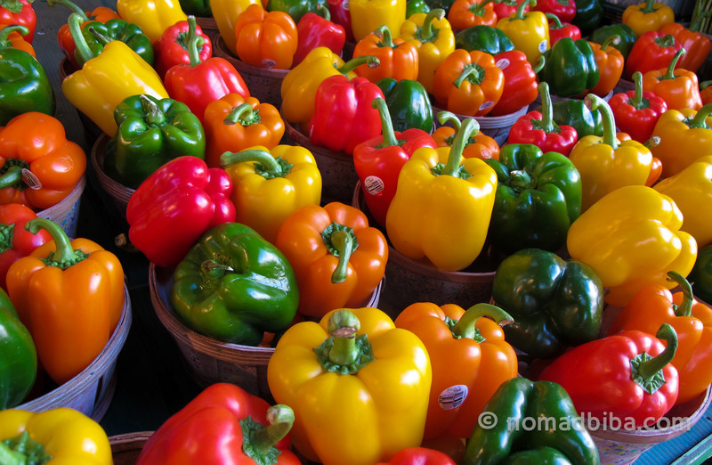 Peppers at the Jean Talon market in Montreal, Canada
