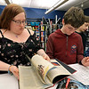 Many young adults are playing Dungeons & Dragons at the Lunenburg Library's Young adults room and this years first game was on Thursday, January 3, 2019. Young Adult Librarian Nicole Piermarini helps Michael Daly, 13, make up a character for the game. SENTINEL & ENTERPRISE/JOHN LOVE