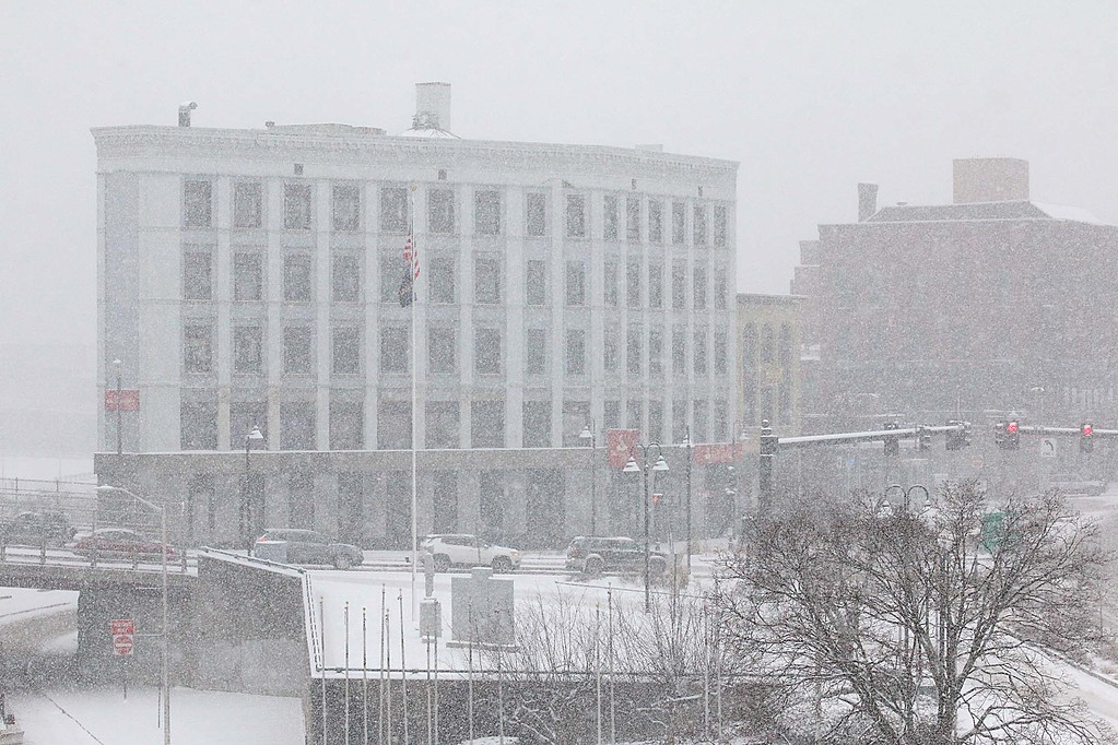 . You is hard to see the buildings on Main Street in Fitchburg during Wednesday\'s storm. SENTINEL & ENTERPRISE/JOHN LOVE
