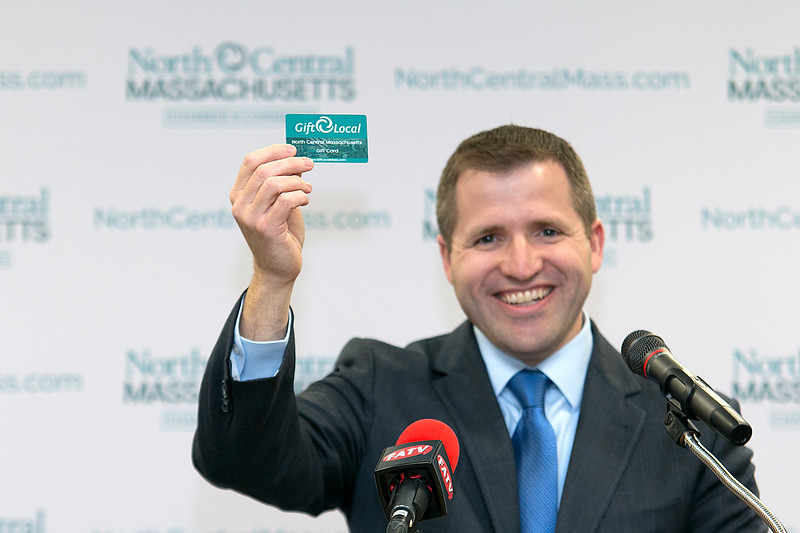 Roy Nascimento the President and CEO for the North Central Massachusetts Chamber of Commerce's talks about their new gift card at their headquarters in Fitchburg on Tuesday afternoon. SENTINEL & ENTERPRISE/JOHN LOVE