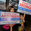Angelina, 8, and Dylan Ardinger, 5, campaign for their grandfather Frank Ardinger, Republican candidate for State Representative in Leominster during Election Day on Tuesday. SENTINEL & ENTERPRISE / Ashley Green