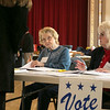 it was steady voting at the polls in Leominster City Hall on Tuesday morning. Sisters Madeleine Maroux and Marie Blondin check in voters at the polls at Leominster City Hall on Tuesday. They have been work the polls in the city for the past four years. SENTINEL & ENTERPRISE/JOHN LOVE
