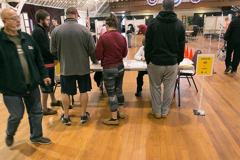 The polls at the Fitchburg Senior Center on Tuesday morning. SENTINEL & ENTERPRRISE/JOHN LOVE