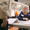Checking in voters at the polls in the Fitchburg Senior Center is election worker Pauline Sala on Tuesday morning. SENTINEL & ENTERPRISE/JOHN LOVE