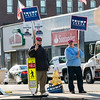 Holding signs for Donald Trump at the corner of Park and West Street is Paul Tatro and Scott Arnold. SENTINEL & ENTERPRISE/JOHN LOVE