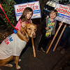 Angelina, 8, and Dylan Ardinger, 5, and Buddy the dog campaign for their grandfather Frank Ardinger, Republican candidate for State Representative in Leominster during Election Day on Tuesday. SENTINEL & ENTERPRISE / Ashley Green