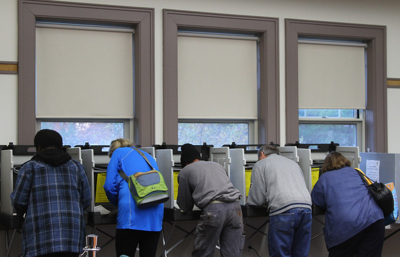 Heavy voter turnout at the Shirley Town Offices on Tuesday. Nashoba Valley Voice Photo by David H. Brow.