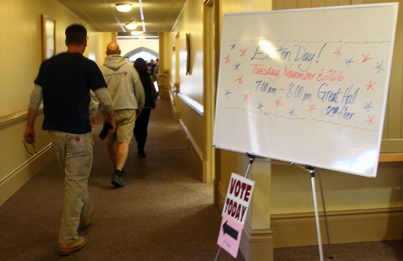 Voters file through the halls of the Ayer Town Hall to cast their votes in the general election. Nashoba Valley Voice Photo by David H. Brow.