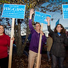 State Senator Jen Flanagan and Congressman Jim McGovern campaign with Natalie Higgins, Democratic candidate for State Representative in Leominster during Election Day on Tuesday. SENTINEL & ENTERPRISE / Ashley Green