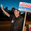 Frank Ardinger, Republican candidate for State Representative, waves to supporters in Leominster during Election Day on Tuesday. SENTINEL & ENTERPRISE / Ashley Green