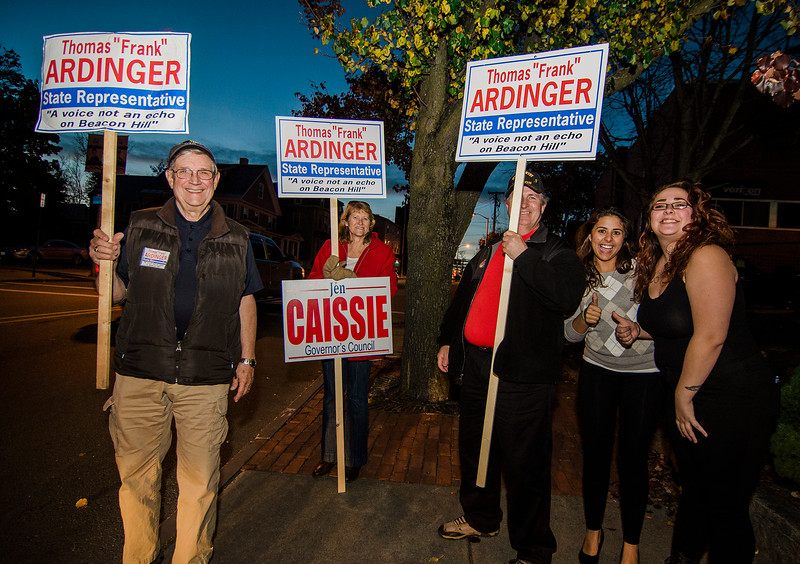 Frank Ardinger, Republican candidate for State Representative, campaigns with supporters Patrice Hall, John Casey, Alex Bolduc and Steph Buja in Leominster during Election Day on Tuesday. SENTINEL & ENTERPRISE / Ashley Green