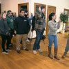 Students from Fitchburg State University wait in line to get checked in to vote at the polls in the Fitchburg Senior Center on Tuesday morning. SENTINEL & ENTERPRISE/JOHN LOVE