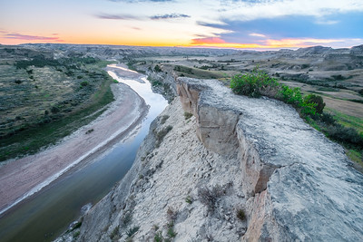 Sunset over the Little Missouri River in Theodore Roosevelt National Park