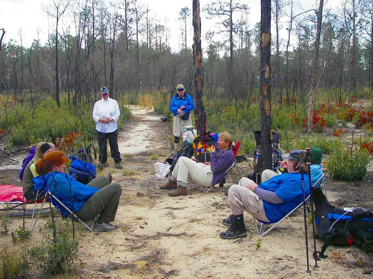 Backpackers take a rest break<br /> photo credit: Deb Blick / Florida Trail Association