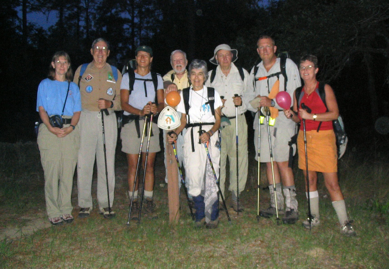 70-70 Hikers at Clearwater Lake<br /> photo credit: Linda Benton / Florida Trail Association