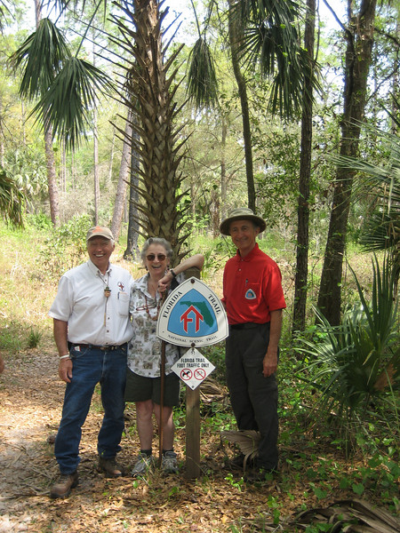 40th Anniversary Hike, Clearwater Lake: founders Tom Montoya, Margaret Scruggs, Jim Kern<br /> photo credit: Kent Wimmer / Florida Trail Association