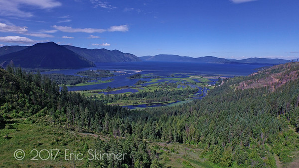 Views of the Clark Fork River Delta where the river spills out into Lake Pend Oreille