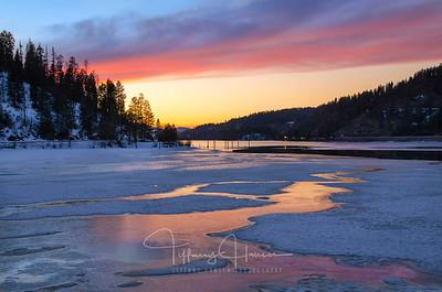 Lake Coeur d'Alene Icy Sunset