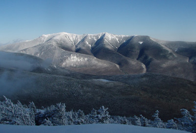 We made it to North Kinsman -- View off the summit ledges of The Franconia Ridgeline in all is winter splendor