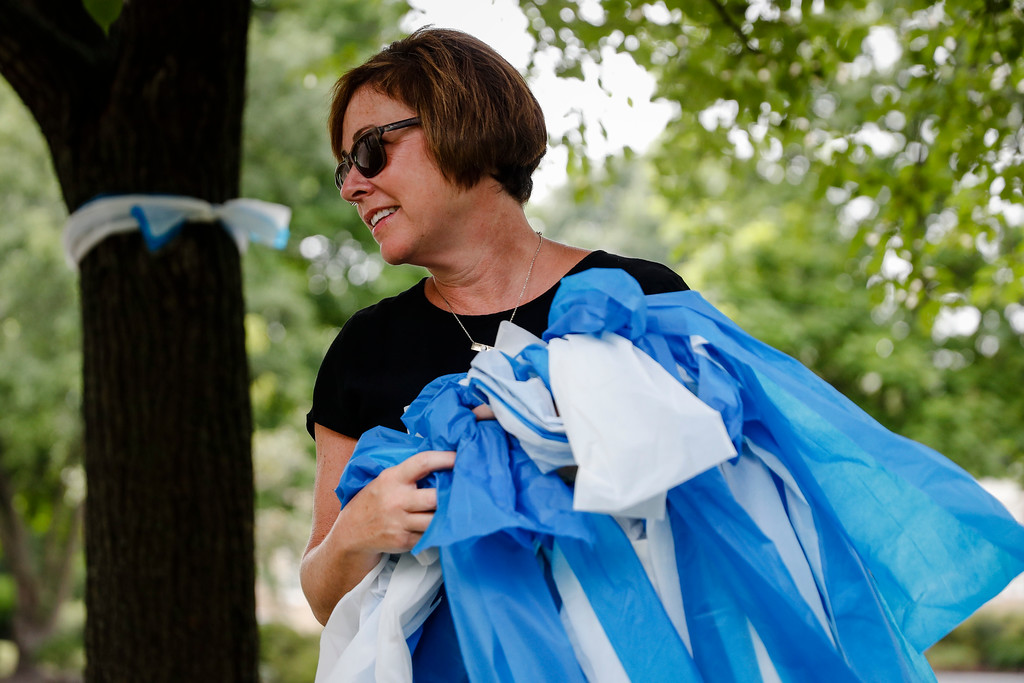 . Alison Lebrun helps tie blue-and-white awareness ribbons along Springfield Pike near the family home of Otto Warmbier, a 22-year-old University of Virginia undergraduate student who was imprisoned in North Korea in March 2016, in the Wyoming suburb of Cincinnati on Tuesday, June 13, 2017. Warmbier, serving a 15-year prison term for alleged anti-state acts, was released and medically evacuated from the reclusive country Tuesday and has been in a coma for months, his parents said. (AP Photo/John Minchillo)