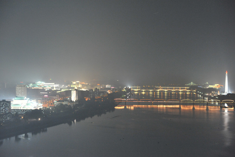 A night view of Pyongyang -- Taedong river