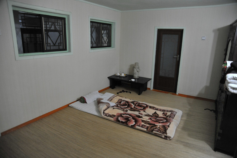 We slept on the floor in this hotel (no, it wasn't comfortable!) at Kaesong -- Minsok hotel (folk customs hotel)