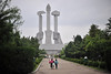 One of many monuments in Pyongyang - the monument to workers party foundation