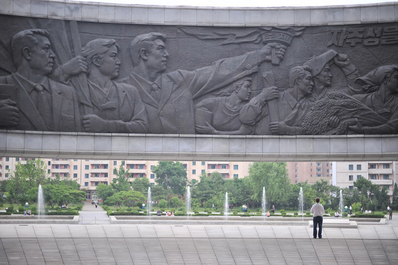 "Me in front of Pyongyang's ""Monument to Workers Party Foundation"""