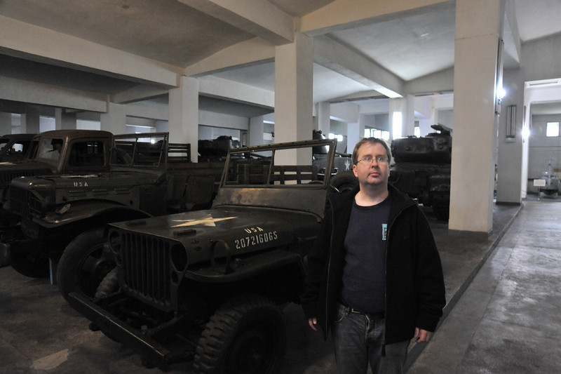 "Me in front of a captured US jeep from the Korean War inside the ""Victorious Fatherland Liberation War Museum"""