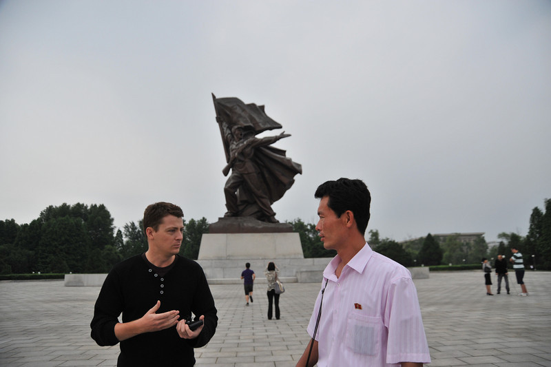 Discussions about North Korea   (at the Monument to Victory in the Victorious Fatherland Liberation War)