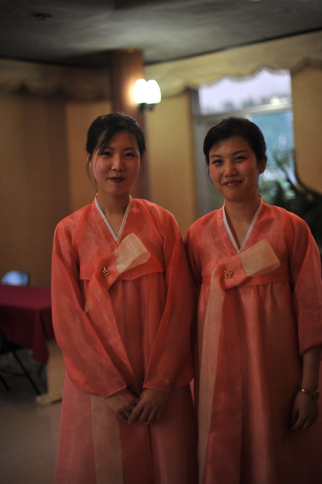 There were an endless supply of waitresses like these, dressed in national costume.  This was in the Lotus Flower restaurant in Pyongyang