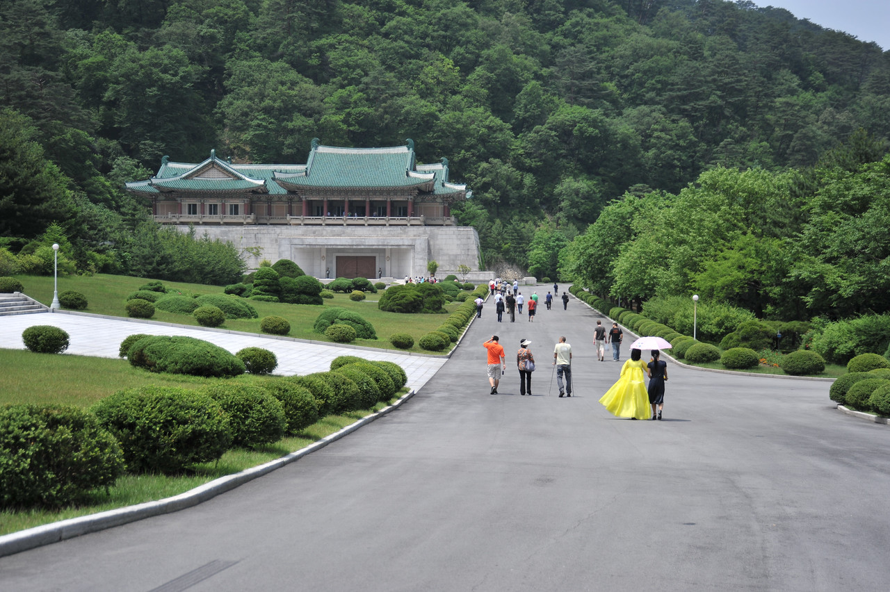 The building in front is filled with gifts from leaders worldwide (International friendship exhibition -- Kim Jong Il hall)