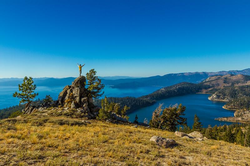 Joyful man above Lake Tahoe and Marlette Lake
