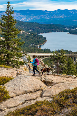 Donner Lake Summit Hiker Women and Dog along the Pacific Crest Trail - PCT and Rainbow Bridge